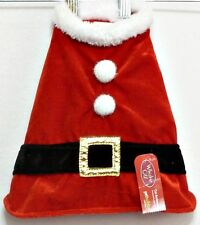 "Whisker City Pet Holiday Cat or Dog Pet Santa Coat Outfit 10"" Neck 16"" Girth"