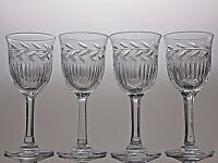 CUT GLASS LEAD CRYSTAL SHERRY GLASSES SET OF 4