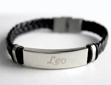 LEO - Mens Bracelet With Name - Leather Braided Birthday Gifts For Him