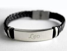 LEO-Da Uomo Bracciale con nome-in Pelle Intrecciato regali di compleanno per lui