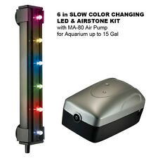 "6"" RGB SLOW COLOR CHANGE LED & AIRSTONE KIT w/MA-80 Air Pump for 15 Gal Aquarium"