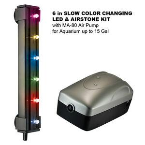 """6"""" RGB SLOW COLOR CHANGE LED & AIRSTONE KIT w/MA-80 Air Pump for 15 Gal Aquarium"""