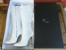 GIUSEPPE ZANOTTI DESIGN pour BALMAIN HIGH HEEL BOOTS WHITE LEATHER MADE IN ITALY