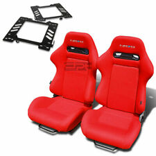 NRG TYPE-R RACING SEAT RED CLOTH+SILDER+FOR 99-04 FORD MUSTANG SN-95 BRACKET X2