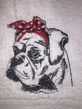Embroidered Bathroom Hand Towel Dog Silhouette- Boxer w Bandana HS1070