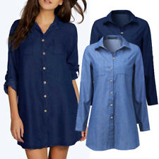 ZANZEA AU 8-24 Women Plus Size Top Tee Long Tunic Blouse Denim Blue Shirt Dress