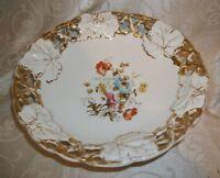 """Gold Trimmed Floral Pedestal bowl made in Germany 9 1/4""""D"""