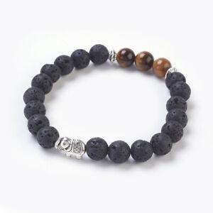 Bracelet Lava Bead Tigers Eye Elephant Unisex Reiki Healing Chakra Bag UK Seller