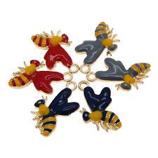 Lot of 6 Multi-colors Honey Bee Charms Enamel Plated Earrings Pendants Findings