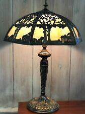 VINTAGE SLAG GLASS LAMP VERY ORNATE SHADE