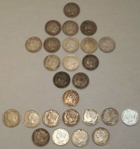 Lot of 26 - Silver Canada Five Cents/5¢ - Victoria - 1890-1900 - Better Grade