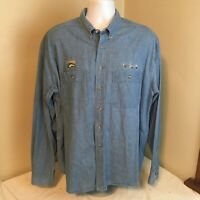 Orvis Mens Shirt Long Sleeve Blue Denim XL Embroidered Alaska Fishing Flies FS!