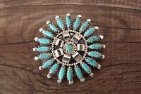 Navajo Indian Sterling Silver Petit Point Turquoise Cluster Pendant! by  N. Nez