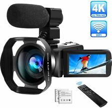 4K Camcorder Video Camera Ultra HD WiFi Camcorders with Microphone, 48.0MP IR