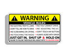 Vehicle Safety Warning Rules Sticker Window Graphic Bumper Visor Humor Decal