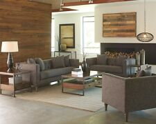 Traditional Tweed Like Fabric 3Pc Gray Sofa Set Sofa Loveseat Chair Living Room
