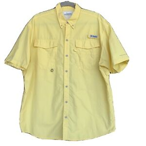 Mens Columbia PFG fishing shirt L Bright Yellow