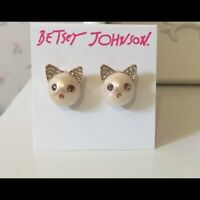 Betsey Johnson,CRYSTAL & FAUX PEARL CAT Stud Earrings, FREE FAST SHIPPING.!!!!