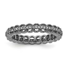 Sterling Silver Stackable Expressions Black Plated Carved Diamond Ring Sz 5 - 10