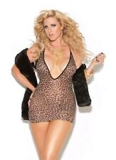 Deep V Mini Dress New Adult Womens Sexy Valentine Leopard Elegant Queen Size