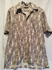Vintage Nautica Mens Ivory and Brown Hawaiian Bamboo Button Down Shirt Medium
