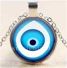 Protected by Evil Eye Cabochon Glass Tibet Silver Chain Pendant  Necklace