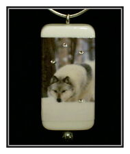 Gray Wolf In The Snow Domino Pendant With Cord And Gift Box