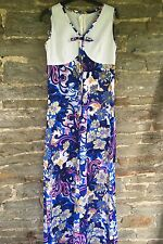 Vintage 1960s/1970s Flower Power Maxi Dress Boho Festival Hippy Size 10