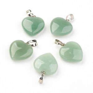 1x Brass Finding Natural Green Aventurine Heart Pendants 22~23x19.5~20.5x6~7.5mm
