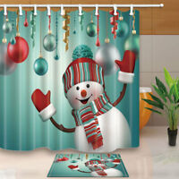 Happy Snowman Christmas Bathroom Fabric Shower Curtain Set With Hooks 71Inches