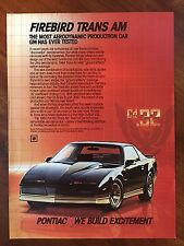 Vintage 1984 Original Print Ad PONTIAC FIREBIRD TRANS AM Muscle Car cd.32