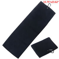 "Trifold Microfiber Golf Towel 16"" x 24"" With Hook Cleans Clubs Balls Han_ci"