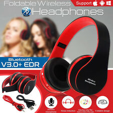Foldable Wireless Bluetooth Stereo Headset Headphones Handsfree+Mic For iPhone