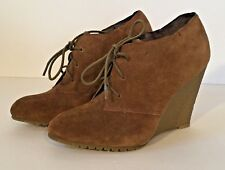 NEW Sam Edelman Effie Cognac Suede Leather Wedge Ankle Boot Shoe Booties Size 7M