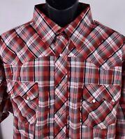 Rustler Mens 2XL Wrangler Sawtooth Metallic Western Pearl Snap Plaid Shirt