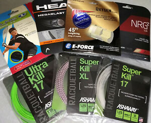 7 sets of assorted racquetball strings, 17 gauge, new in manufacturer's packages
