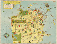 Early Pictorial Map of San Francisco Art Poster Print Wall Decor Golden Gate