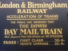 More details for vintage rail sign advertising london birmingham railway mail train fare charges