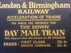 Vintage Rail Sign Advertising London Birmingham Railway Mail Train Fare Charges