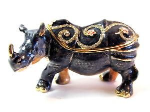 Rhinoceros Diamanti Decorated Jewelled Trinket Box Figurine Approx 5.5cm High