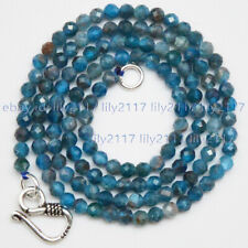 Small 3mm Faceted Natural Blue Apatite Gemstone Round Beads Necklace 18''