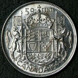 1944 Canada 50 Cents Silver Narrow Date Near 4 Good Luster #12885