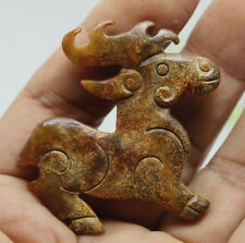 Chinese Oriental culture carved jade bronze stag sika deer amulet pendant D363