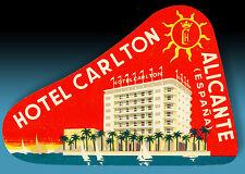 Edad maleta pegatinas hotel carlton Alicante   vintage luggage Label 50er