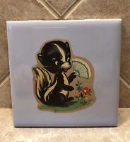Vintage Mosaic Ceramic Wall Tile Skunks At Play - Has Hook For Hanging