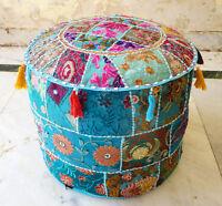 Indian Floor Pouf Ottoman Cover pouffe pouffes Foot Stool Moroccan Pillow `