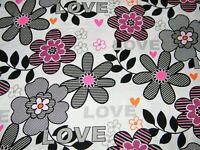 BTY Kanvas THINK PINK Pop Flowers Print 100% Cotton Quilt Craft Fabric by Yard