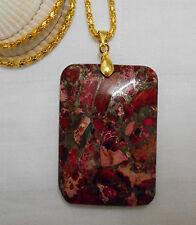 Unique rectangle shaped pink sea sediment jasper gemstone gold plated necklace