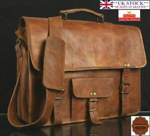 Leather Messenger Bag Shoulder Laptop Bag Briefcase brown Genuine New