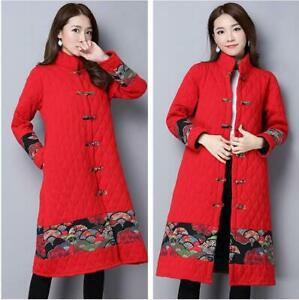 Ethnic Womens Cotton Padded Outwear Jacket Thicken Quilted Chinese Warm Coat D9